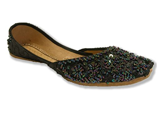 Beachcombers Black Khussa Indian Bollywood Shoes Handmade Leather Belly Dance Flats Womens 10 (Sca Belly Dancing)