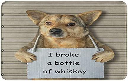 AIKIBELL Alfombrilla de baño,El Perro Malo rompió una Botella de Whisky,alfombras Antideslizantes para decoración del hogar,Felpudo Suave y Duradero