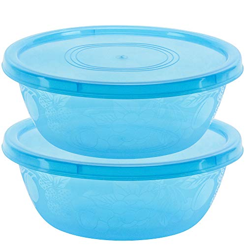 DecorRack 2 Serving Bowls with Lids, Extra Large Pasta, Salad, Snack Bowl, Shatterproof, Durable -BPA Free- Plastic Mixing Bowl with Tight Lid, Beautiful, Vibrant Party Decor, Random Colors (2 Pack)
