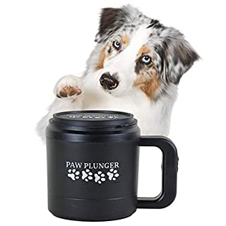 Paw Plunger for Medium Dogs – Portable Dog Paw Cleaner for Muddy Paws – This Dog Paw Washer Saves Floors, Furniture, Carpet and Vehicles from Paw Prints – Soft Bristles, Convenient Cup Handle, Black