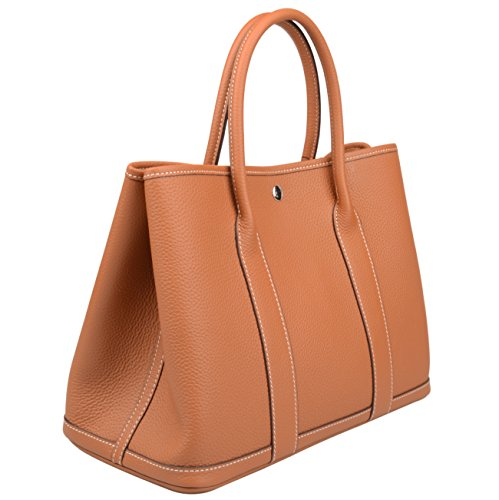 (Ainifeel Women's Genuine Leather Top Handle Handbag Shopping Bag Tote Bag (Brown))