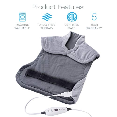 Pure Extra-Long Back & Heating Pad Technology Back Therapy with Closure, Adjustable Belt Bag