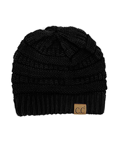 (Trendy Warm Chunky Soft Stretch Cable Knit Beanie Skully, Black)