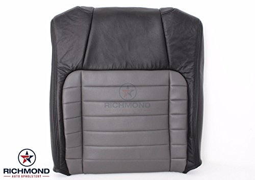Richmond Auto Upholstery 2002 Ford F-150 F150 Harley Davidson Edition Supercharged Driver Side Lean Back (Seat Top) Replacement Leather Seat Cover, Black & Gray