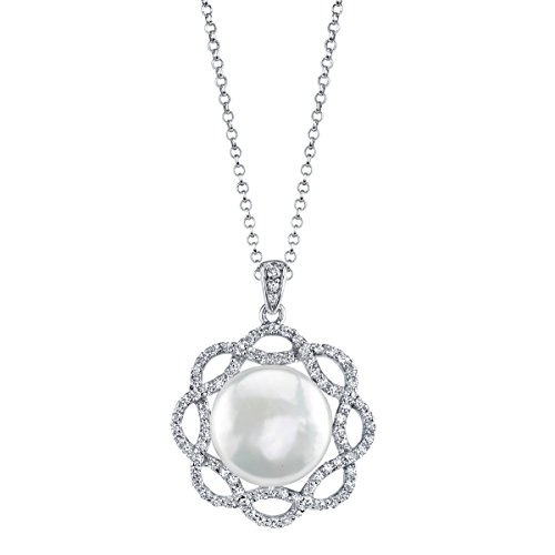 12mm White Freshwater Cultured Pearl & Crystal Flora Pendant
