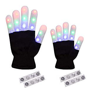 2 Pack - Amazer Adult and Kids Light Gloves Children Finger Light Flashing LED Warm Gloves with Lights for Birthday Party Christmas Xmas Dance Best Great Gifts for More Fun- Black