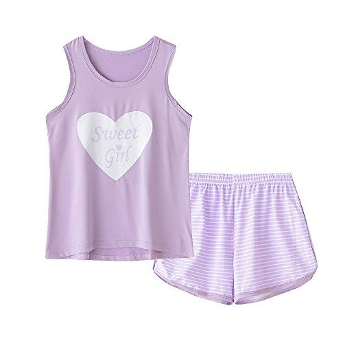 MyFav Big Kids Girls Sleeveless Sleepwears Hearts Shape Striped Pajama Nightgown