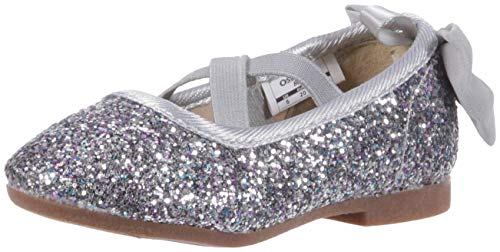 OshKosh B'Gosh Girls' Vashti Ballet Flat, Silver, 10 M US Toddler
