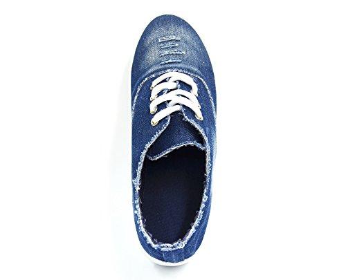 SHY37 * Baskets Basses Tennis Sneakers Tissu Effet Jean Déchiré avec Semelle Plateforme Compensée - Mode Femme (Bleu)