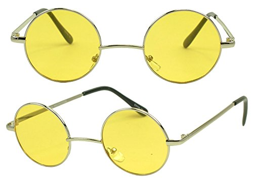 Sunglass Stop - Small Retro Vintage Lennon Style Round Thin Circle Metal Color Tint Sunglasses (Yellow - Lens Pink Gradient Red Frame