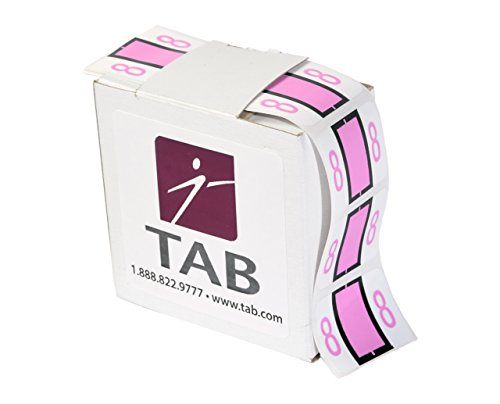 TAB CompuColor Numeric Label Roll, 8, Light Pink, 1