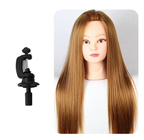 CHENGYIDA Hairdressing Practice Training 5% Human Hair 24Inch Long Brown Mannequin Clamp Model with Clamp Stand