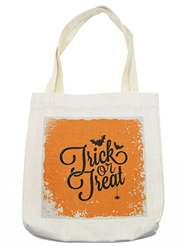 Lunarable Vintage Halloween Tote Bag, Trick or Treat Halloween Theme Celebration Image Bats Tainted Backdrop, Cloth Linen Reusable Bag for Shopping Groceries Books Beach Travel & More, Cream