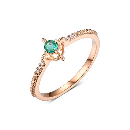 0.12 Carat Circular Natural Emerald Handmade Diamond Ring Band May Birthstone