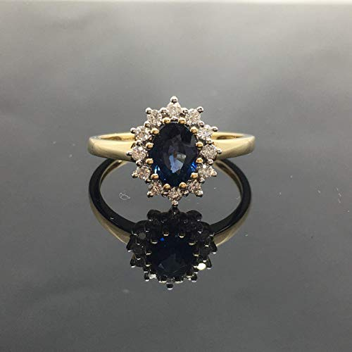 Victorian Sapphire Engagement Ring - Solid 14K Yellow Gold Vintage Princess Diana Inspired Engagement Ring - 14K Genuine Sapphire Diamond Halo Ring - 14K Natural Blue Sapphire - Ring Diana 14k