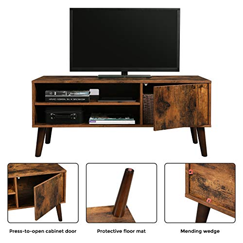 VASAGLE Retro TV Stand, TV Console, Mid-Century Modern Entertainment Center for Flat Screen TV Cable Box Gaming Consoles, in Living Room Entertainment Room Office ULTV09BX by VASAGLE (Image #4)