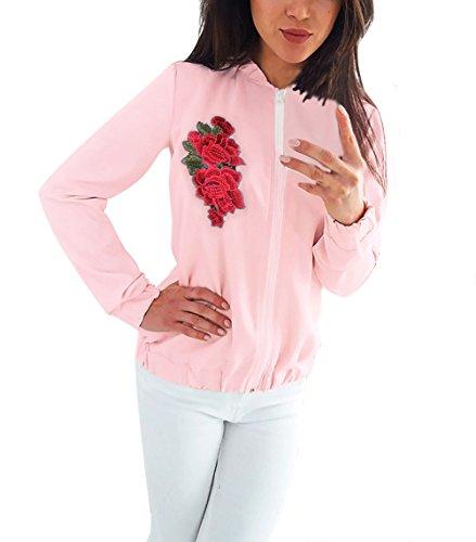 Giacca Giacche Lunga Fiori Outerwear Bomber Abbigliamento Ricamo Autunno Giubbotto Manica Zip Elegante Style Etno Chic Vintage Donna Ragazza Pink Baseball Casual Con Inverno Sportiva Moda Et rqt81prg