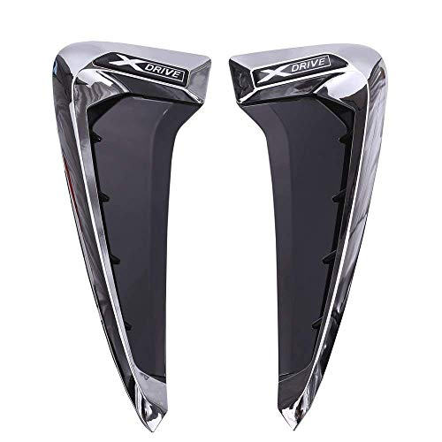 Autobro ABS Xdrive Carbon Fiber Shark Gills Side Decoration Fender Vent Trim For BMW X5 F15 X5M F85 14-17-Silver White