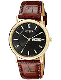Men's BM8242-08E Eco-Drive Gold-Tone Stainless Steel Watch with Brown Leather Band