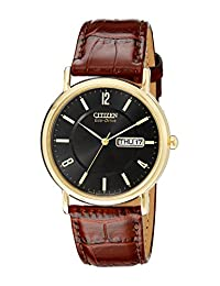 Citizen Men's BM8242-08E Eco-Drive Gold-Tone Stainless Steel and Leather Strap Watch