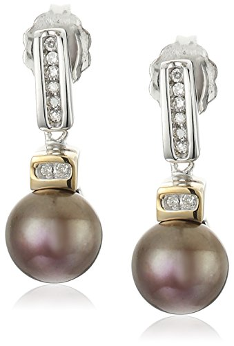 Sterling Silver and 14k Yellow Gold 7mm Chocolate Freshwater Cultured Pearl and Diamond Earrings (0.06 cttw, I-J Color, I3 Clarity)