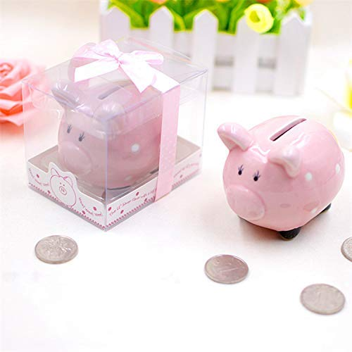 Favor Ceramic Mini-Piggy Bank in Gift Box with Polka-Dot Bow White (Small)
