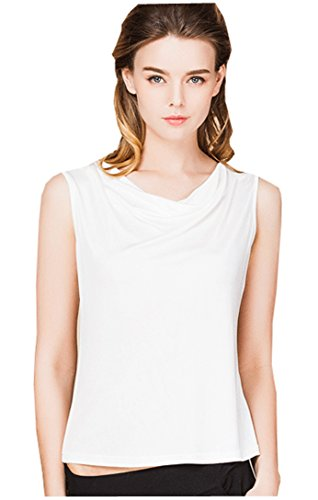(METWAY Women's Tank Tops Comfy Fit Swing Neck Silk Sleeveless Shirts Medium White)