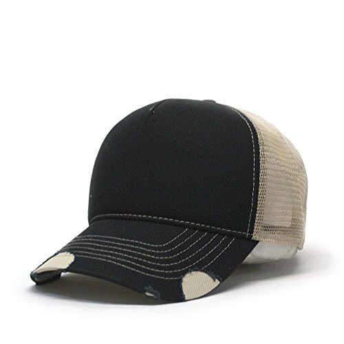 Vintage Year Plain Cotton Twill Mesh Adjustable Snapback Low Profile Trucker Baseball Cap (Various Colors) (Distressed Black/Khaki) - Panel Brushed Cotton Mesh Cap