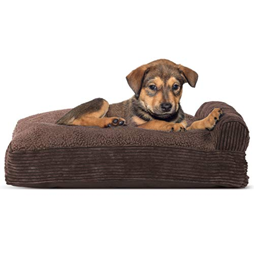 (Furhaven Pet Dog Bed | Faux Fleece & Corduroy Deluxe Chaise Lounge Pillow Cushion Sofa-Style Living Room Couch Pet Bed for Dogs & Cats, Dark Espresso, Small)