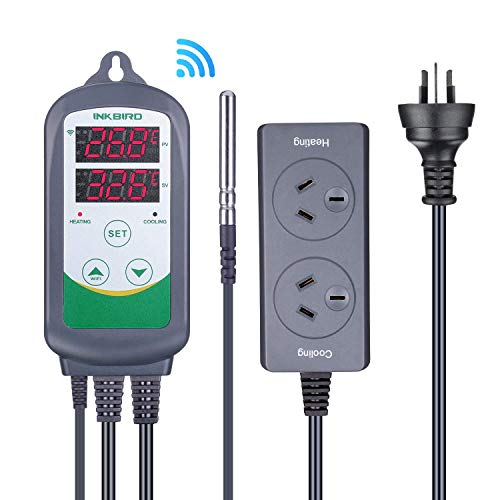 Inkbird ITC-308 WiFi Digital Temperature Controller 220V Outlet Thermostat, 2-Stage, 2200w, w/Sensor Smart Thermostat…