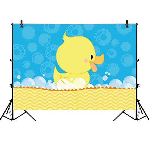 Allenjoy 7x5ft Rubber Duck Theme Baby Shower Backdrop Blue and Yellow Ducky Boy Birthday Party Event Decorations Candy Table Decor Banner Background Photography Pictures Photo Booth Props