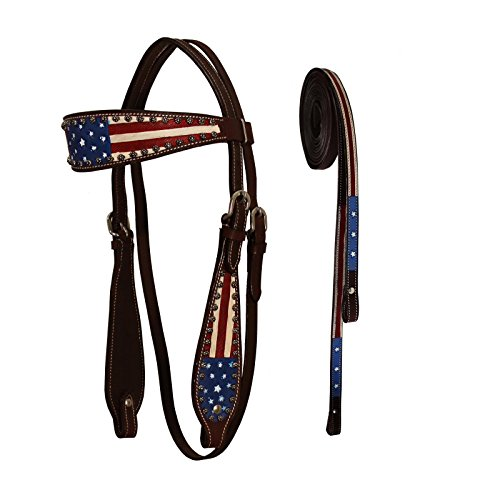 (Tahoe Western Patriotic American Flag Browband Horse Headstall with Reins (Pony))
