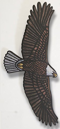 Bald Eagle Stained Glass - Bald Eagle Soaring - 24 in. x 10.5 in - sculpture - wall hanging