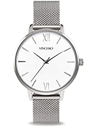 Luxury Women's Eros Wrist Watch - Silver + White dial with a Silver Mesh Watch Band - 38mm Analog Watch - Japanese...