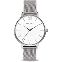 Vincero Luxury Women's Eros Wrist Watch - Silver + White dial with a Silver Mesh Watch Band - 38mm Analog Watch - Japanese Quartz Movement