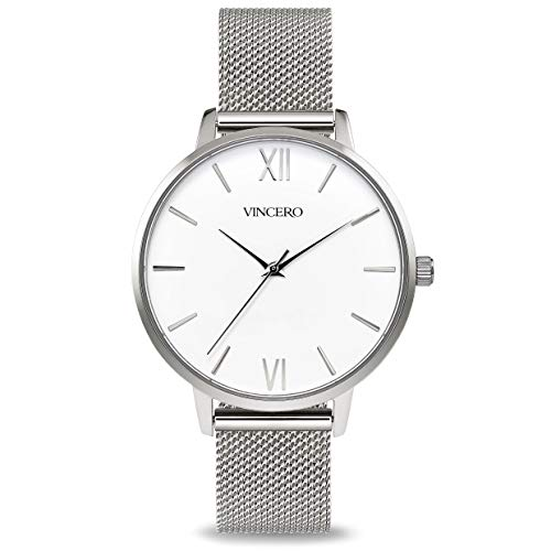 Vincero Luxury Women's Eros Wrist Watch - Silver + White dial with a Silver Mesh Watch Band - 38mm Analog Watch - Japanese Quartz Movement -