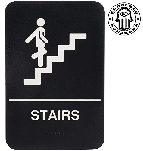 "ADA Sign Door Plate Stairs with Braille for Business, Restaurant, 9"" x 6"""