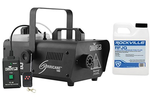 (CHAUVET DJ Hurricane 1000 Fog Machine w/Wired & Wireless Remote + FJU Fog Fluid )