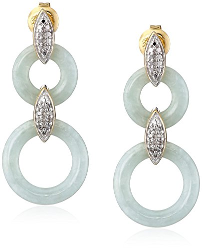 18k Yellow Gold Over Sterling Silver Green Jade Circles with Diamond Accents Drop Earrings (1/10 Cttw, I-J Color, I2-I3 Clarity) (Color Jade Earring)