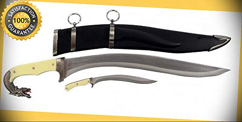 17.5'' Dragon Head Sword With Dagger and Scabbard perfect for cosplay outdoor camping
