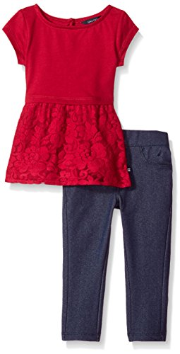 Velour Toddler Pants Girls (Nautica Baby Girls Two Piece Legging Sets, Berry Velour, 18 Month)