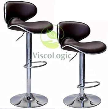 Viscologic Oasis Swivel Leather Adjustable Hydraulic Bar Stool, Set of 2 Brown