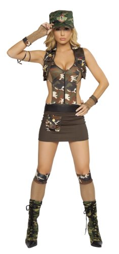 Roma Costume 4 Piece Major Hottie Costume, Camouflage, Sm...