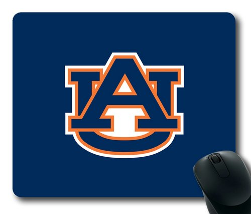 Auburn Tigers Logo on Blue Rectangle Mouse Pad by eeMuse
