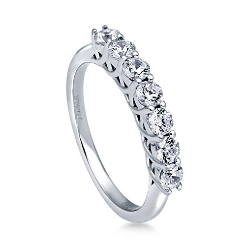 Rhodium Plated Sterling Silver 7-Stone Half Eternity Band Ring Made with Swarovski Zirconia Size 4 (Cut Half Eternity Ring)