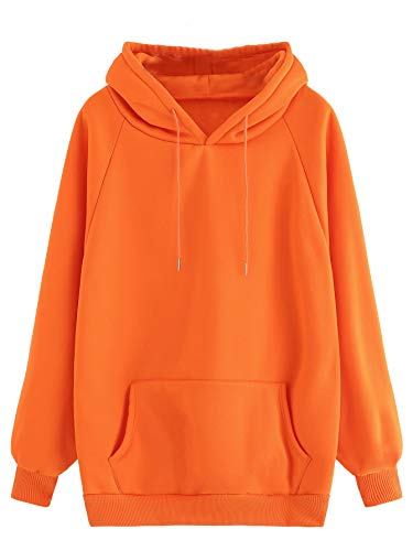 MAKEMECHIC Women's Winter Solid Color Loose Drawstring Pocket Hoodie Pullover Tops Orange - Pullover Drawstring Hooded