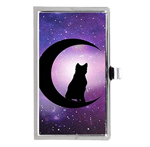 Black Cat crescent moon Halloween Supernatural art Custom Images Business Card Holder Name Case Durable Stainless Box Case Good -