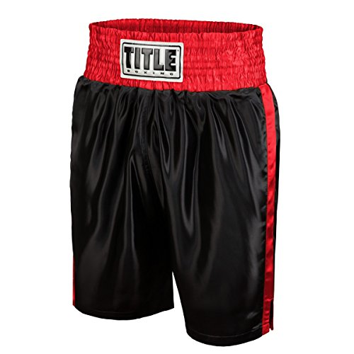TITLE Edge Boxing Trunks, Black/Red, Youth Medium