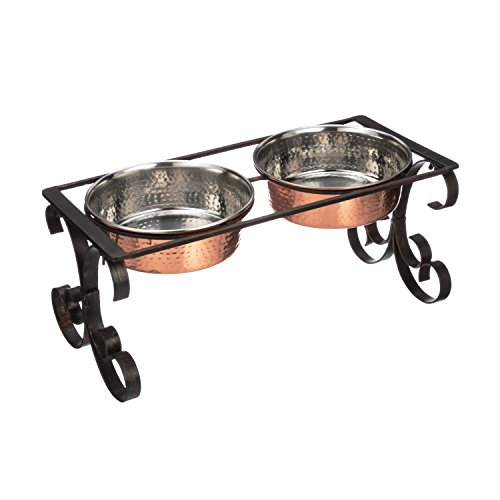 NEATER PET BRANDS Normandy Wrought Iron Feeder with 64 oz Hammered Copper Plated Stainless Steel Bowls - Large Elevated Double Dog Diner