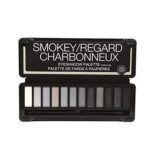 BYS Smokey Eyeshadow Palette Tin (with French Translation) with Mirror Double Ended Applicator and Blender Highly Pigmented 12 Matte & Metallic Shades (Gray Color Shadow)